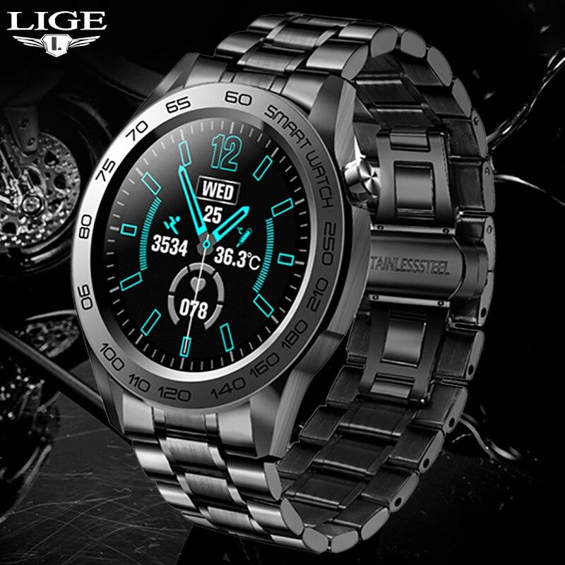 LIGE موضة الرجال ساعة ذكية في الهواء الطلق لتحديد المواقع المسار تسجيل الرياضة اللياقة البدنية تعقب درجة الحرارة مراقب Smartwatch لهواوي شاومي