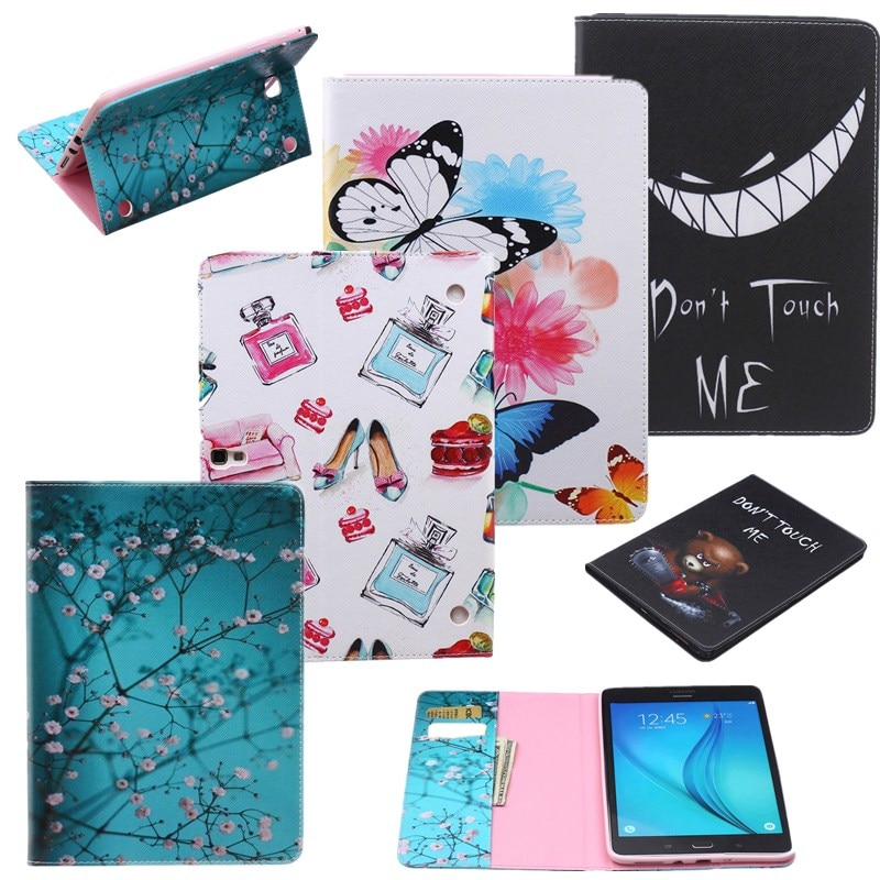 Capa de Couro de Impressão de Moda para Samsung Galaxy Case Carteira Flor Borboleta Cartão Slots Tablet Capa Tab 9.7 Sm-t555 T550