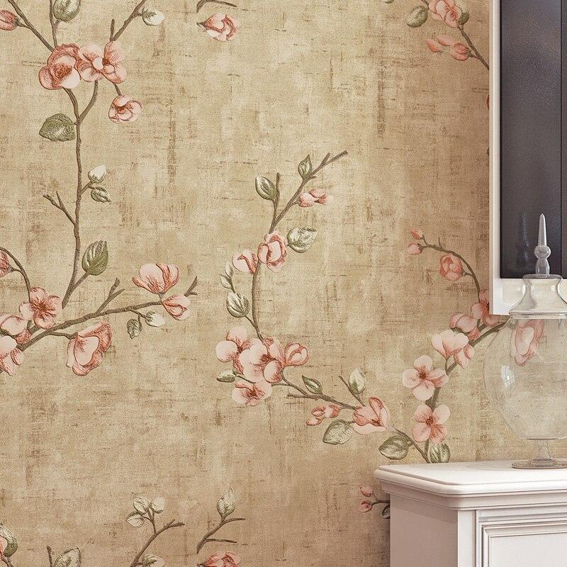 ورق حائط عتيق ثلاثي الأبعاد بنقشة الزهور بتصميم ريفي لغرفة المعيشة وغرفة النوم خلفيات جدارية بنقشة الزهور ورق حائط ديكور منزلي J208