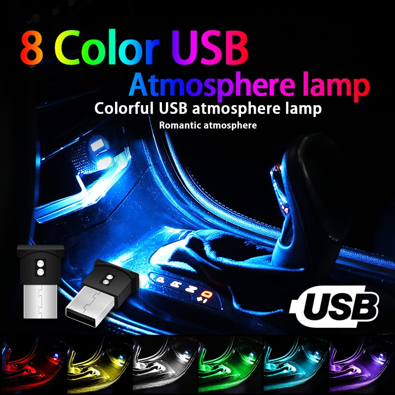 Mini USB LED Car Light Auto Interior Atmosphere Light Decorative Lamp Emergency Lighting PC Auto Colorful Light Car Accessory