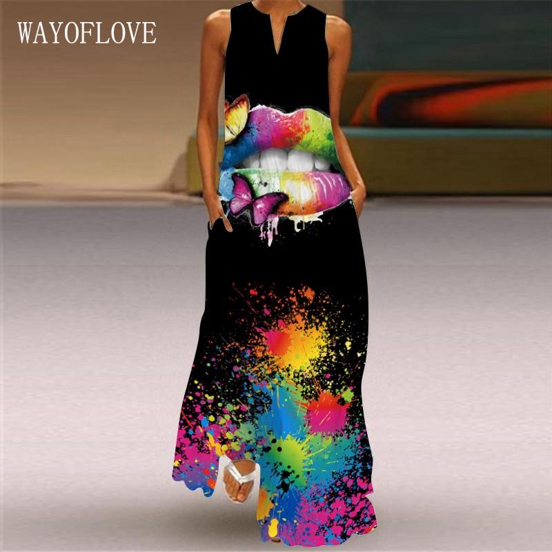 WAYOFLOVE Sexy Mouth Print Long Dress 2021 Elegant Casual Black Dresses Woman Summer Beach Sleeveless Girl Plus Size Dress Women