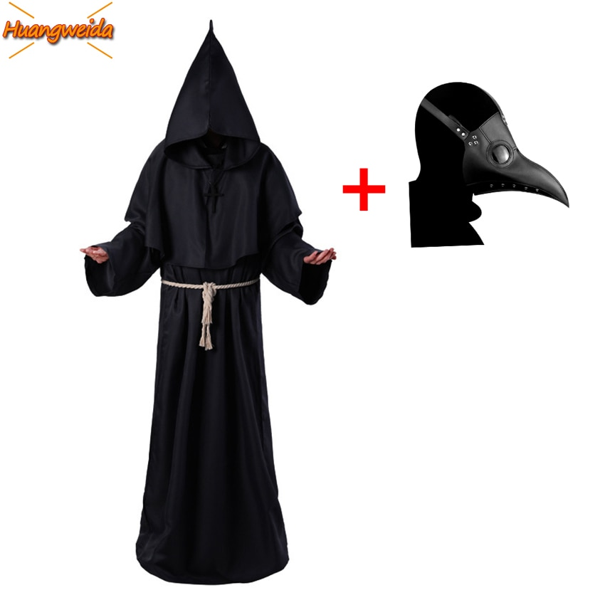 Plague médico trajes praga médico máscara preto morte bruxa cosplay carnaval trajes de halloween para homem adulto vapor punks máscara