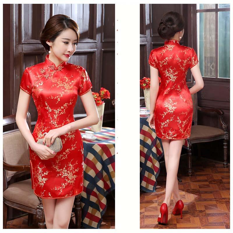 Short Cheongsam Dress Improved Women Summer Vintage Plum Floral Dress Slim Plus Size Dresses 3XL 4XL