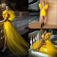 fashion short prom dresses with detachable train yellow deep floor length evening dress 2 pieces overskirts girls party gowns