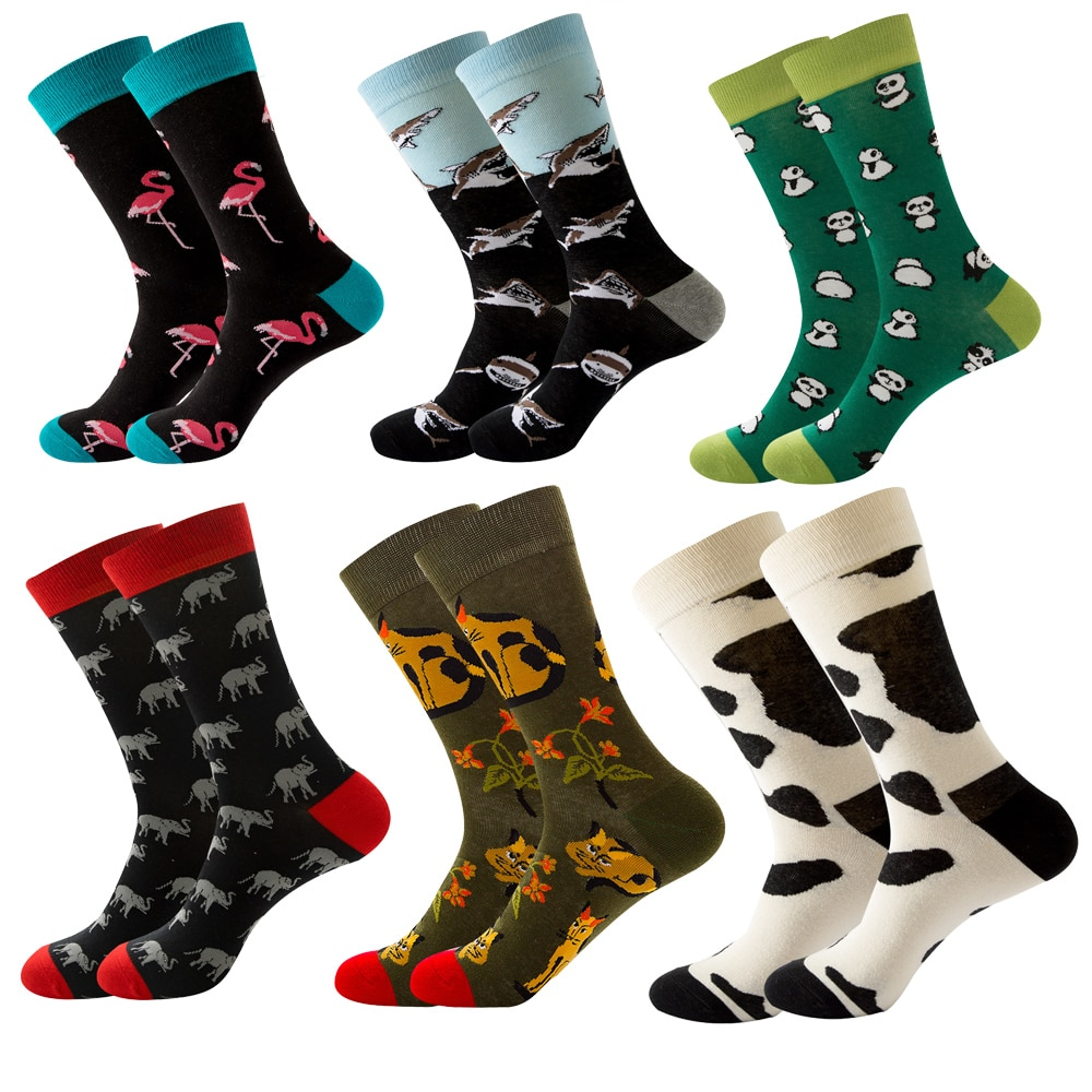 Daily Casual Wearing Animal Print Pattern Middle Tube Combed Cotton Cute Cartoon Socks for Women