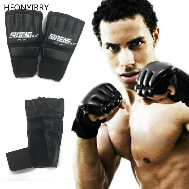 white 10oz boxing gloves mma kick boxing training muay thai men fitness gloves for adult kids free shipping 1 Pair PU Leather Boxing Gloves Sport Men Half Finger Muay Thai Gloves Mma Kick Boxing Training Boxing Mittens tactical Gloves