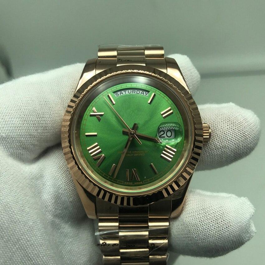Reloj deportivo de lujo para hombre, esfera de oro de 18K, esfera de oro de 40MM, reloj Original de zafiro de movimiento automático de alta calidad 2813