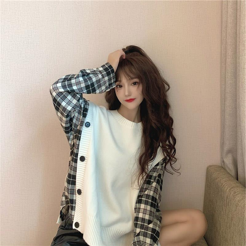 Loose pullover sweater white knit stitching plaid fake two lazy wind round neck pullover long sleeve shirt