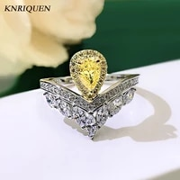 2021 trend 925 sterling silver crown rings for women charms water drop topaz lab diamond wedding engagement ring fine jewel gift
