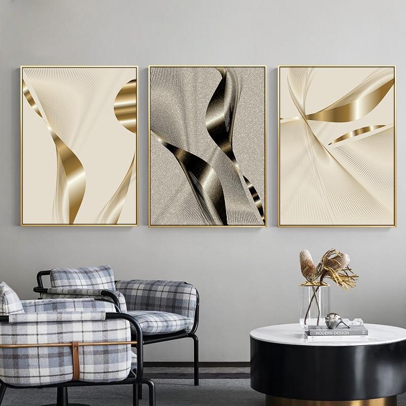 Creativo de plata de oro geométrico abstracto patchwork imagen moderna decorativa de la pared de la lona de arte cartel habitación Oficina hotel Decoración