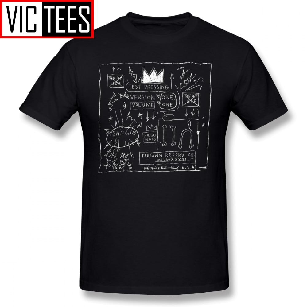 Mens Basquiat T Shirts JEAN MICHEL BASQUIAT BEAT BOP ALBUM FAN ART T-Shirt 100% Cotton Plus size Tee Shirt Funny Fashion Tshirt