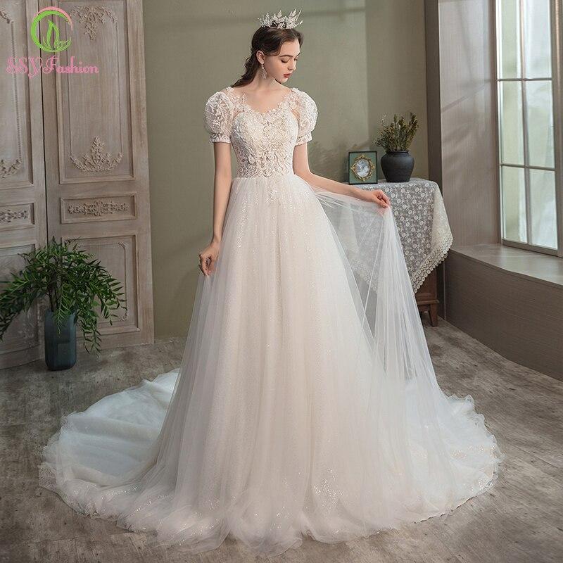 Promo SSYFashion Romantic Wedding Dress for Bride Princess Puff Sleeve V-neck Appliques Beading Lace Wedding Gowns Vestido De Noiva