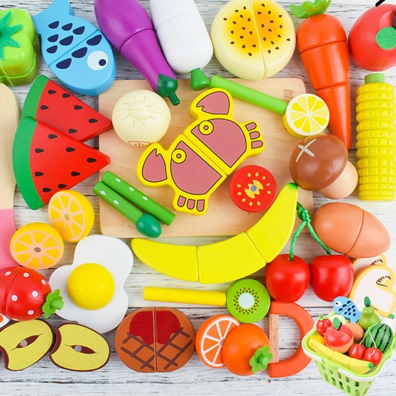 Juego de simulación de cocina de madera para niñas, juguetes magnéticos para cortar frutas, verduras, pasteles, Comida en miniatura para muñecas