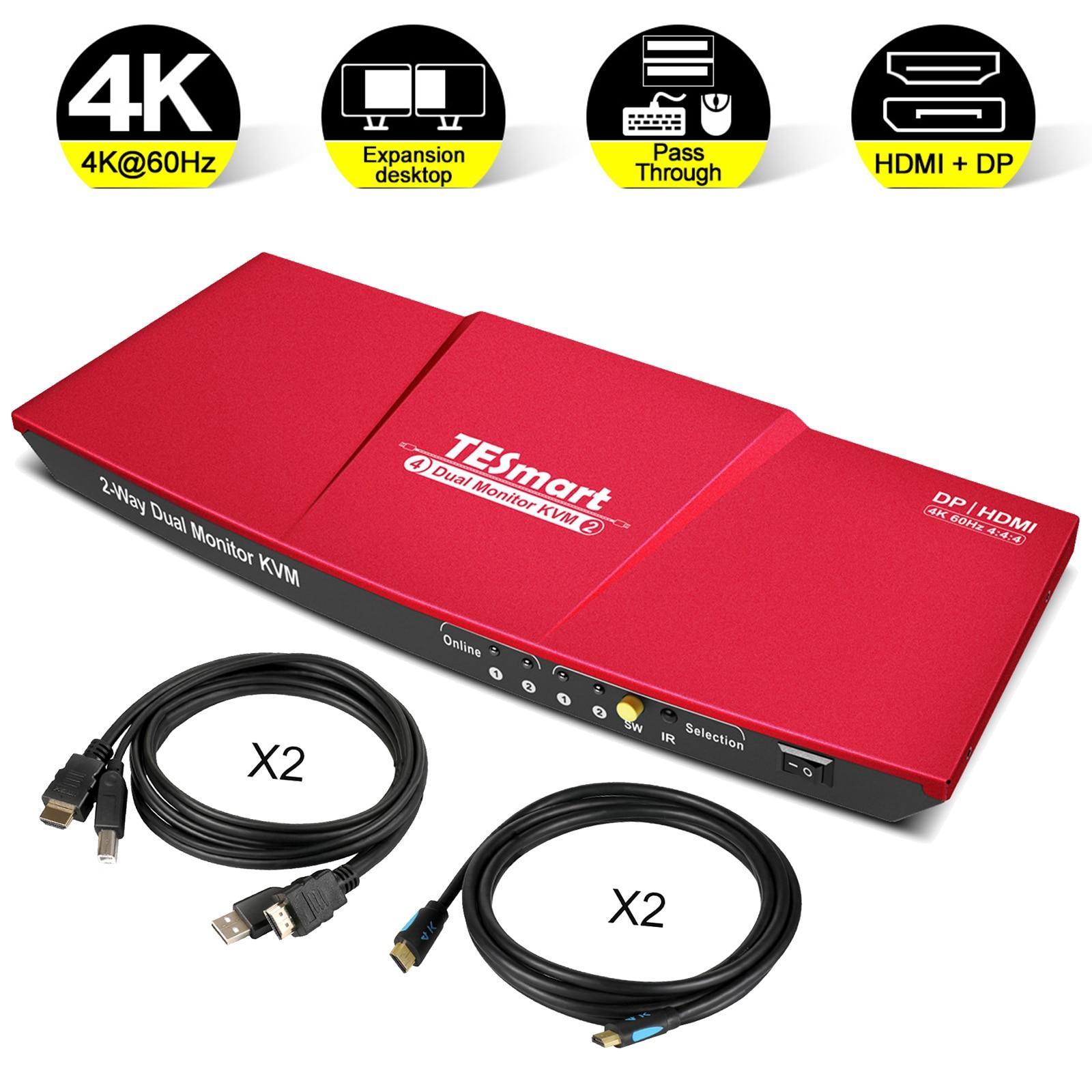 TESmart KVM Switch 2x2 DP+HDMI Dual Monitor KVM 4K@60Hz 4:4:4