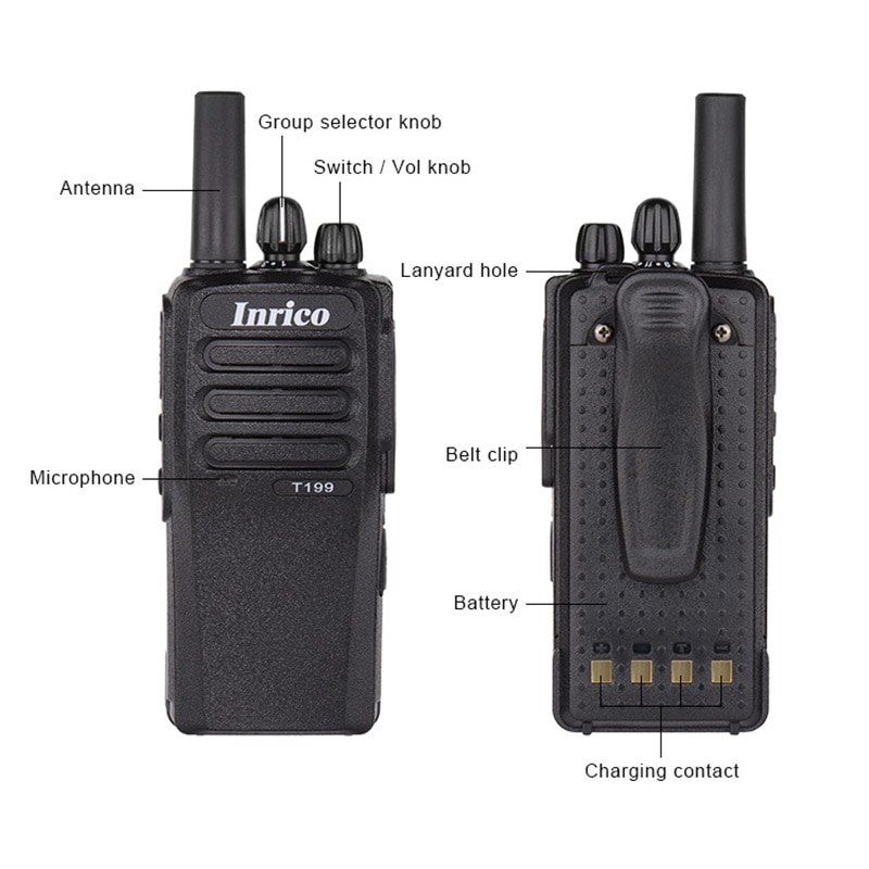 Inrico T199 Zello Android Walkie Talkie 3G Gps Wifi Poc Network Radio GSM WCDMA Walkie Talkie Zello Two Way Radio enlarge