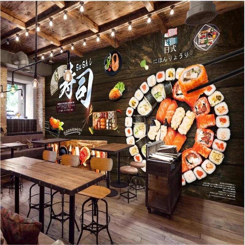 На заказ черная деревянная доска обновленная настенная бумага 3D Японский Суши Ресторан промышленный Декор настенная живопись 3D фото обои