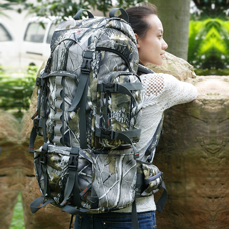 60LOutdoor Backpack Camouflage Mountaineering Bag Hunting Bag Travel Bag Sports Bag Hiking Camping Fishing Backpack