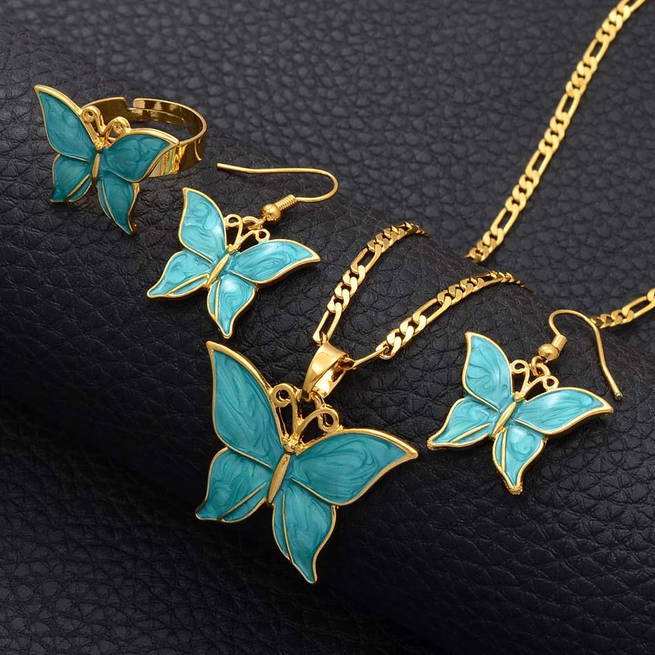 Anniyo פפואה גינאה החדשה שלושה צבעים פרפר סט תכשיטי זהב צבע שרשרת עגילי PNG תכשיטי מתנות לנשים #018016
