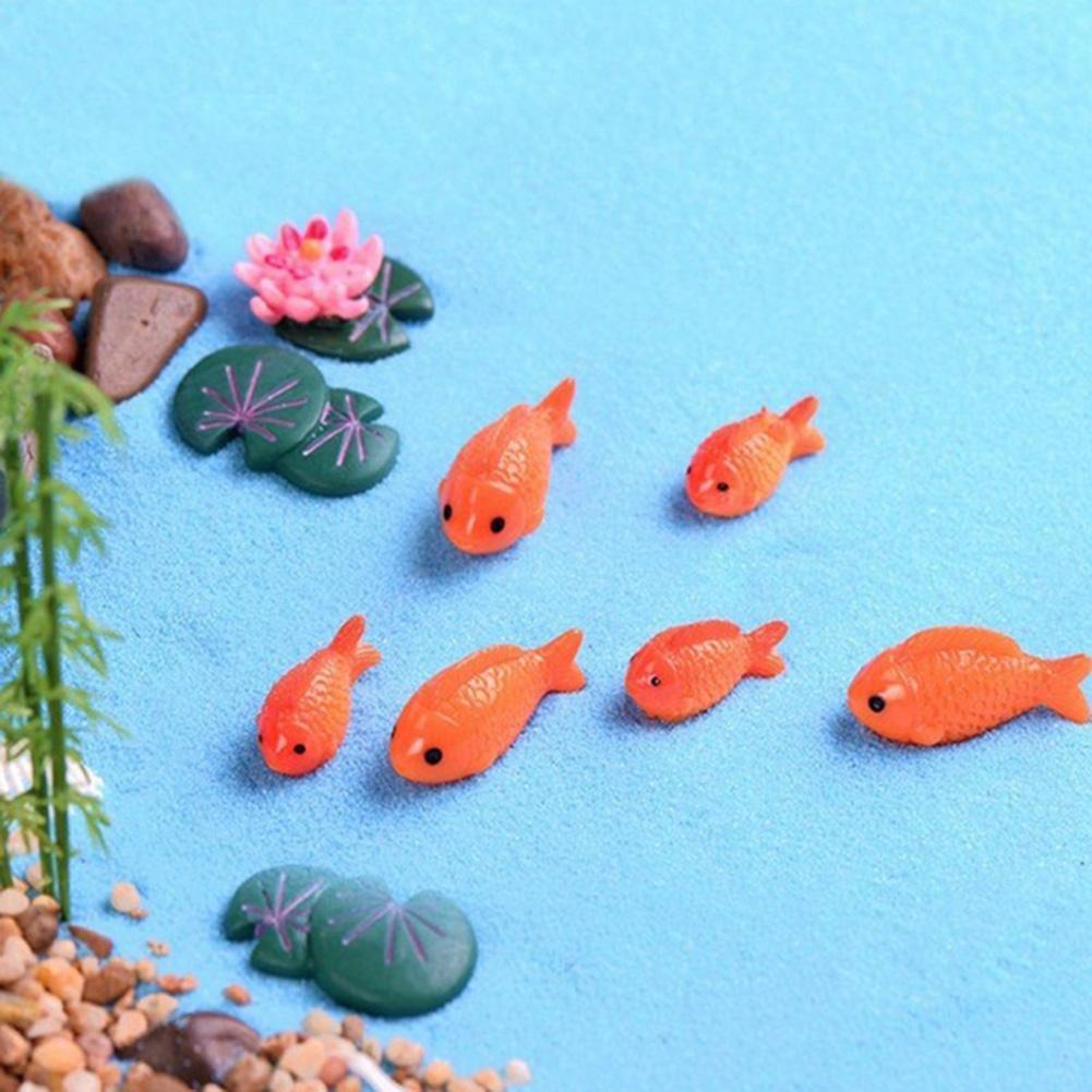 10 Pieces Of Mini Resin Fish Fake Lotus Leaf lotus Pond Bonsai Miniature Ornament Decoration
