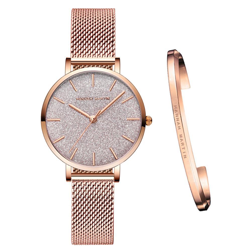 Stainless Steel Mesh Wristwatches Top Brand New Luxury Japan Quartz Movement Rose Gold Designer Elegant Style Watches For Women