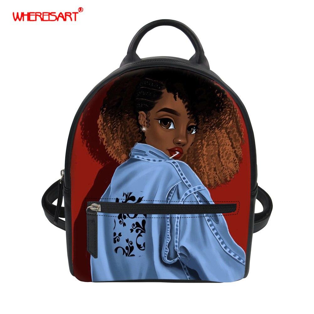 WHEREISART женский рюкзак из искусственной кожи школьный рюкзак мини рюкзак дорожная сумка афро черный рюкзак для девочек рюкзак для подростка ...