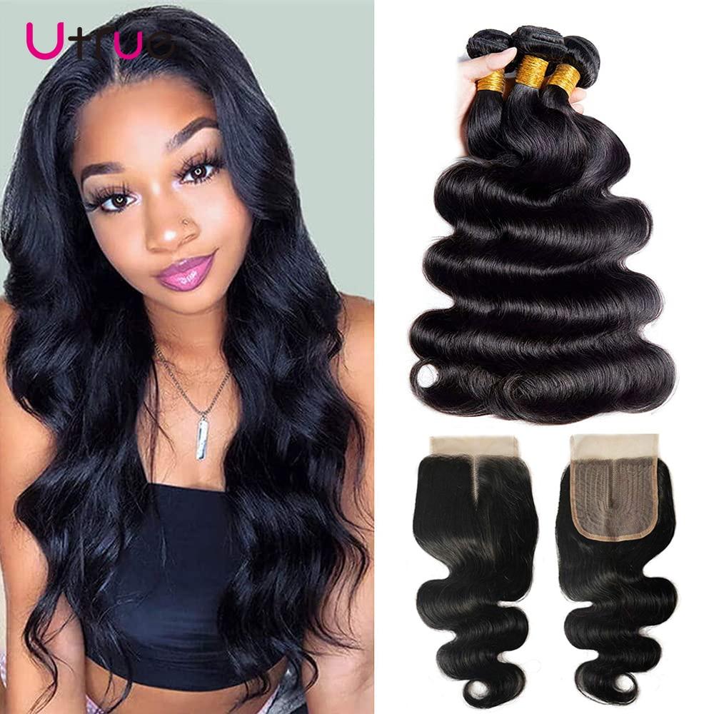 Body Wave Remy Human Hair Brizillian Bundle Deal With Closure 3 Bundles Tissages Bresiliens Humains Avec Closure