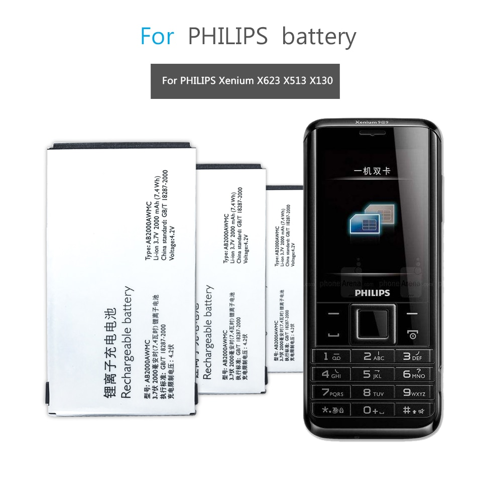 Для PHILIPS Xenium X501 X513 X523 X130 X623 X3560 CTX130 CTX523 CTX513 Мобильный телефон батарея AB2000AWMC AB2000FWML 2000mAh