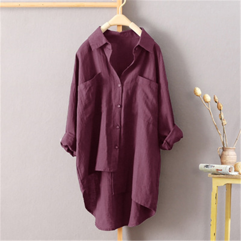 Women Shirts Plus Size Loose Long Sleeve Spring Autumn Irregular Shirt Breathable Casual Pocket Blouse Solid Color Female Tops