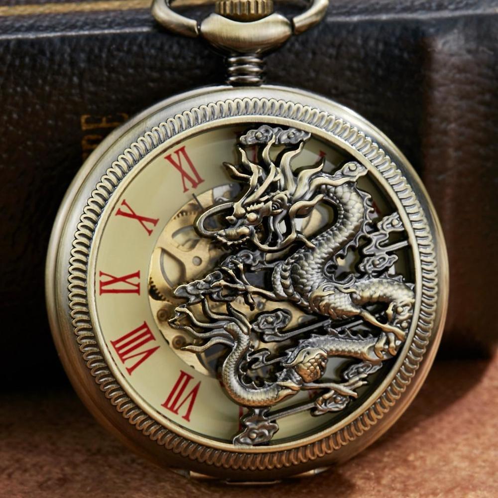 Gorben Dragon Mechanical Pocket Watch Men Bronze Skeleton Mechanical FOB Chain Necklace Clock Mens Reljo