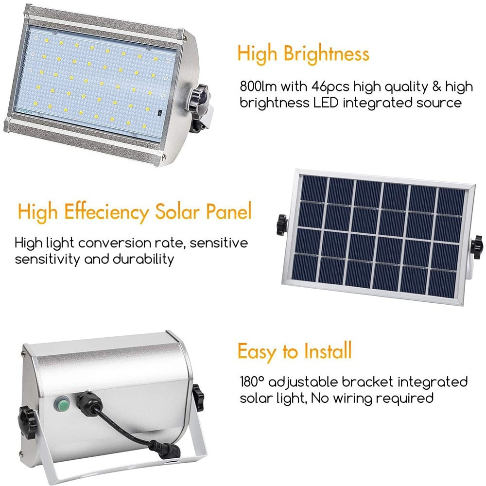 Solar Light Outdoor IP65 Waterproof Motion Sensor Flood Light Wireless Security Lights with Remote Control 800 LM LED Solar Lamp enlarge