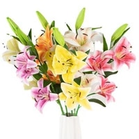 dropshipping fake flower vivid anti fade faux silk flower artificial lily flowers bouquet for home