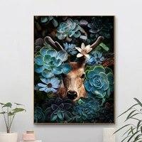 Toile dart mural abstrait de cerf de la Jungle  peinture de fleurs  affiches danimaux  images decoratives modulaires pour decoration de maison