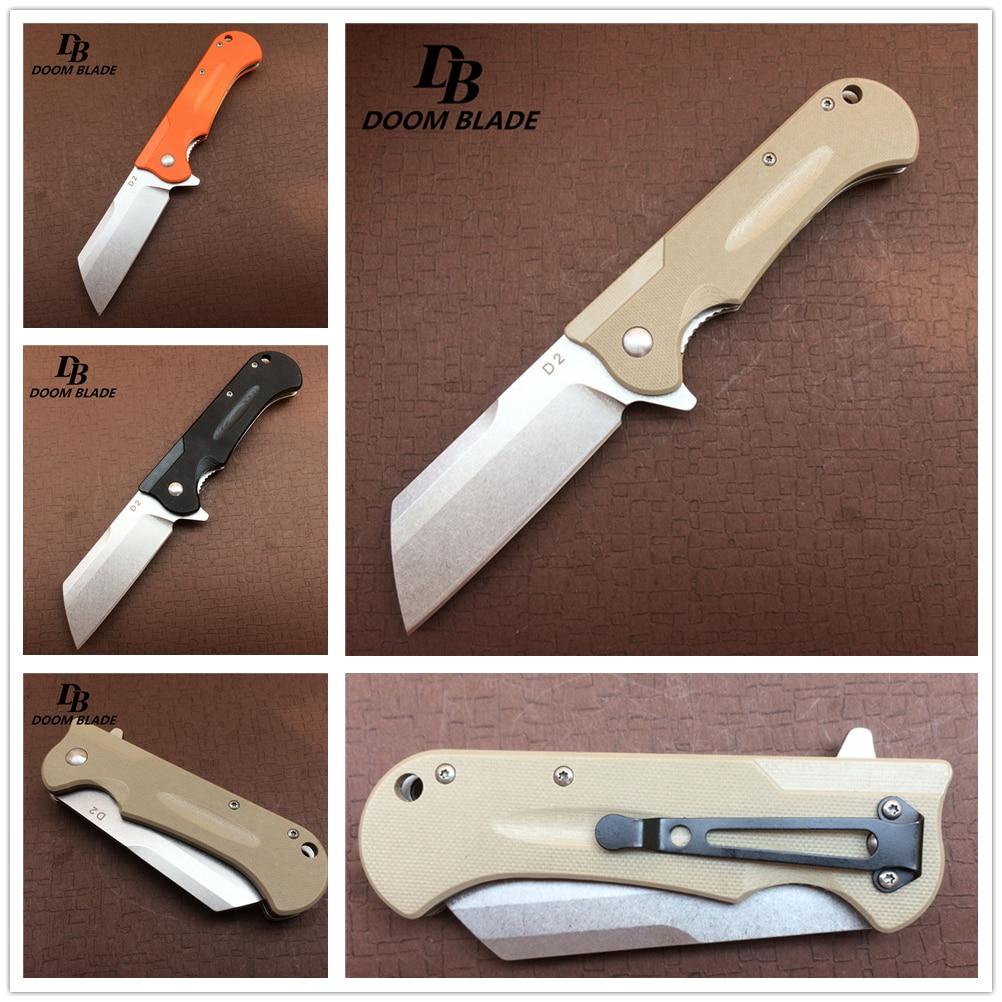 """Cuchillos 60HRC de 7,7 """", herramienta de mano práctica para supervivencia en el exterior, mango de hoja D2 G10, rodamientos de bola, Cuchillos plegables táctico de caza con tapa"""