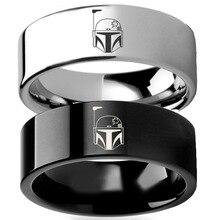 Hot film Star WarsBoba Fetts casque marques argent noir titane acier amant anneau hommes mariage Couple Star Wars anneau accessoires