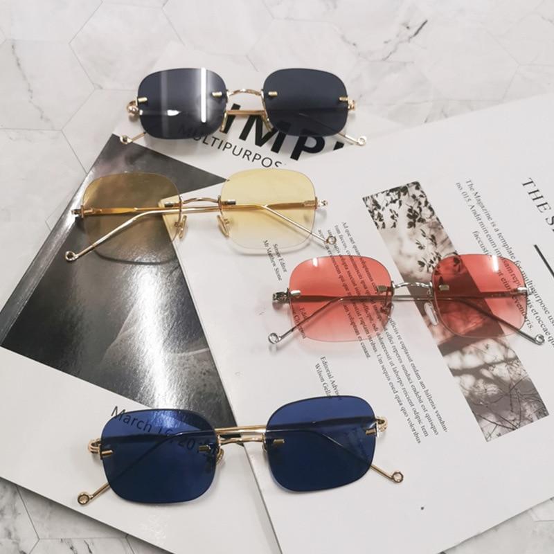 New Frameless Metal Sunglasses Women's Small Box Glasses Personalized Net Red Same Style Flat Glasses Retro sunglasses UV400