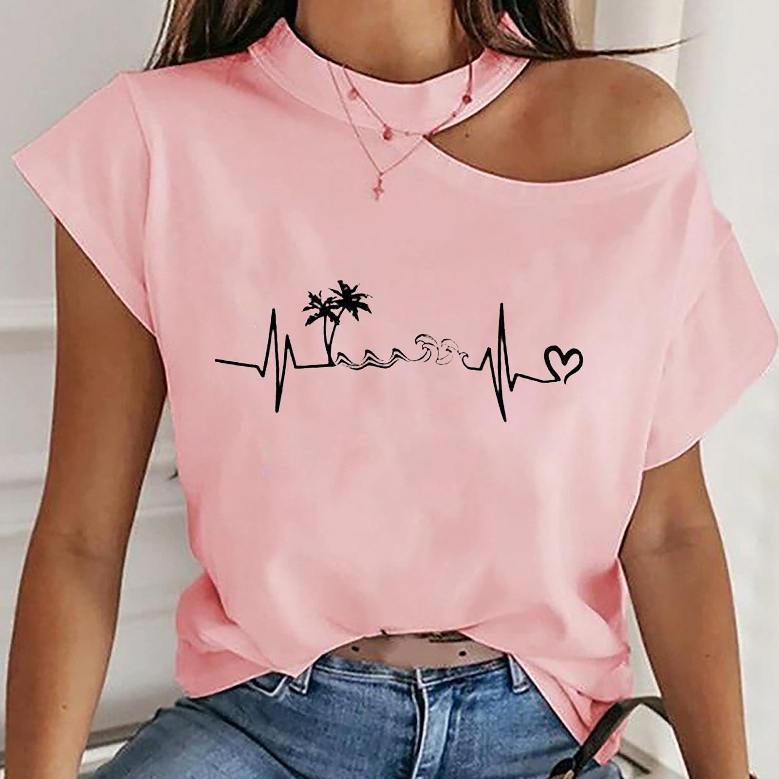 Camisetas con hombros descubiertos para Mujer, Camiseta estampada de manga corta, ropa...