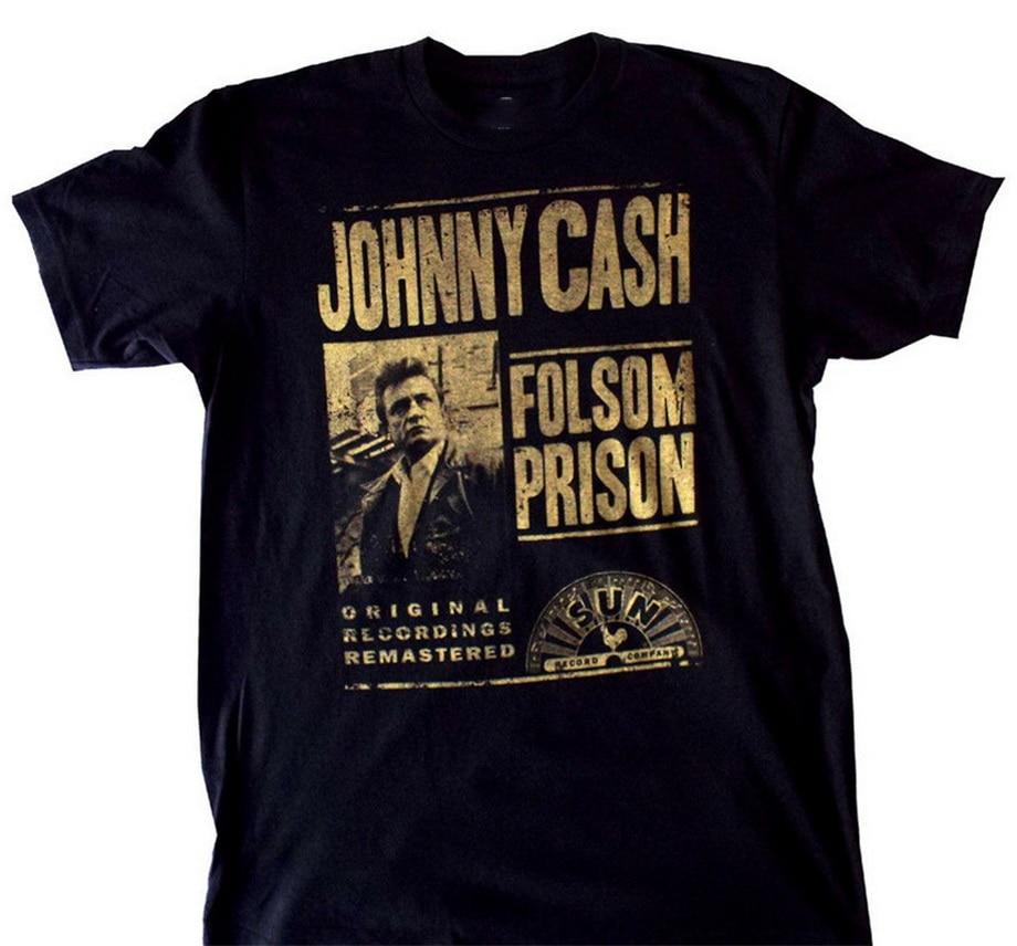 Johnny efectivo Folsom Prison camiseta Sun registros Throwback grabaciones originales nuevo 2020 moda de talla grande