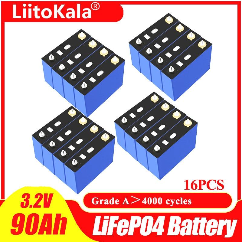 16 قطعة LiitoKala الصف أ 3.2 فولت 90Ah Lifepo4 بطارية شحن جديد لتقوم بها بنفسك 12 فولت 24 فولت 48 فولت RV حزمة لتقوم بها بنفسك الطاقة الشمسية الاتحاد الأوروبي ا...