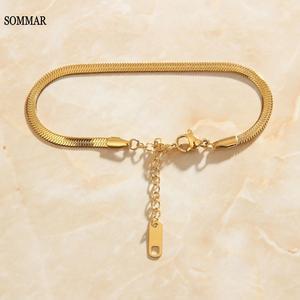SOMMAR floating charms 18KGP Gold Filled / color Goddess women\'s bracelet snake chain anchor charms