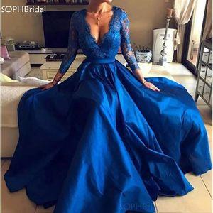 New Arrival Front Split Evening Dresses Sexy V-Neck Royal Blue Lace Party Dresses Long Sleeve Plus Size Formal Long Abendkleider