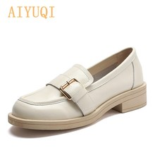 Loafers Women Spring Genuine Leather Student Shoes Women Black British style Shoes for Women Footwea