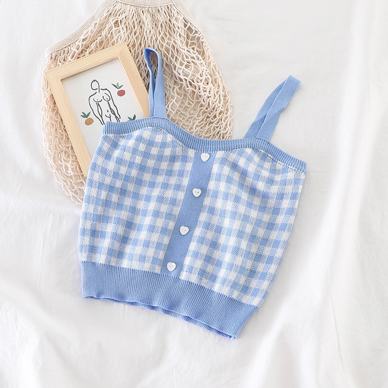 Tops Women Plaid Tanks Tops With Buttons Sexy Bare Midriff Knitted Tops Women Sleeveless Summer Cute Crop Tops For Women