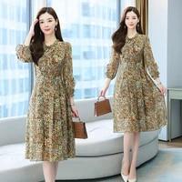 long chiffon women floral dress autumn spring runway 2021 y2k korean fairy long sleeve vintage elegant boho party dresses