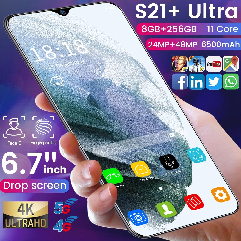 S21 + Ultra 6.7 بوصة 6500mah شاشة كاملة الوجه إفتح 12 + 512gb Andriod 11 الهاتف المحمول 24 + 48 ميجابكسل 11 Core الهواتف الذكية هاتف محمول