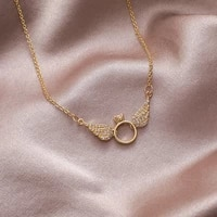 fashion shiny cz zircon angel wing chokers necklaces for women female 2020 gold color copper alloy pendant necklace jewelry gift