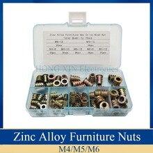 70 pièces/ensemble M4/M5/M6 filetage en alliage de Zinc pour écrou dinsertion en bois