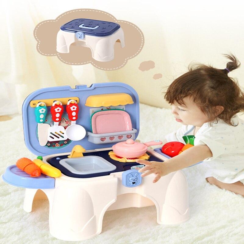 Детская семейная имитация, детские игрушки, многофункциональное приготовление пищи, приготовление пищи, набор кухонной посуды, табурет и с...