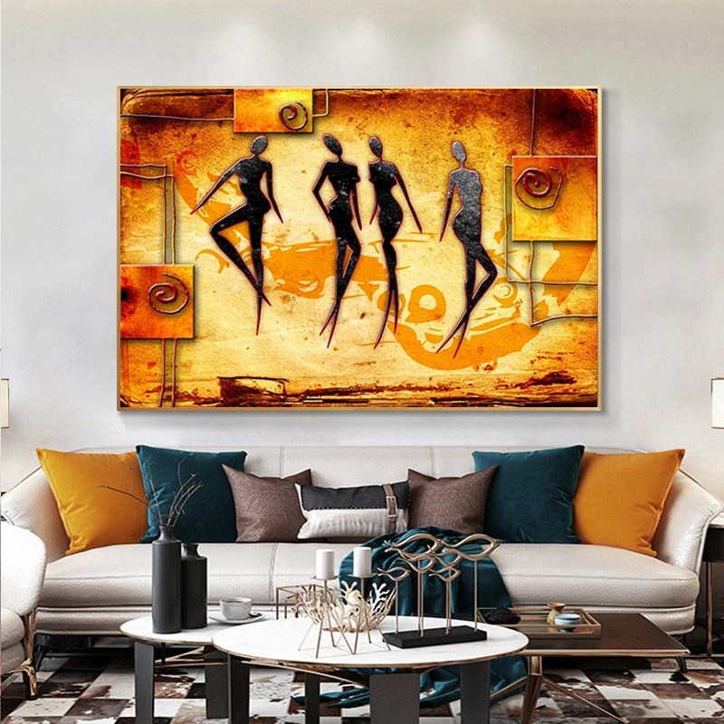 AliExpress - Vintage Ethnic African Women Dancing Abstract Canvas Paintings Posters Print Wall Art Pictures for Living Room Decor Cuadros