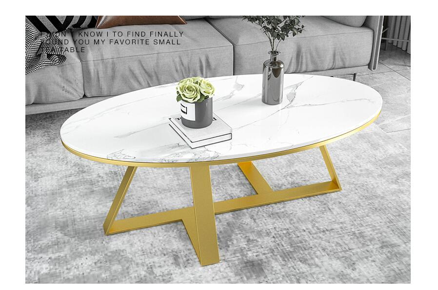 Mesa de centro de mármol nórdico Simple luz moderna red de lujo personalidad roja creativa pequeña sala de estar ovalada mesa de té