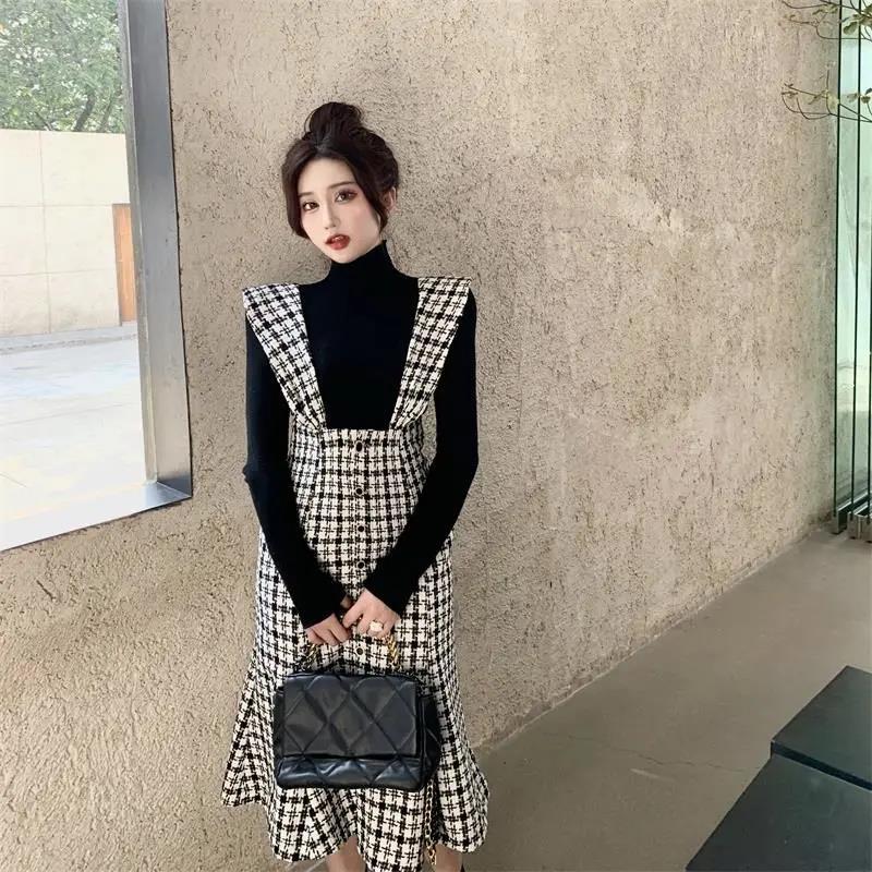 Overalls Dress Women Turtleneck Vintage Fashion Suits Trumpet Dress Knitted Tops 2021 Autumn New Long Sleeve Elegant Suits Women